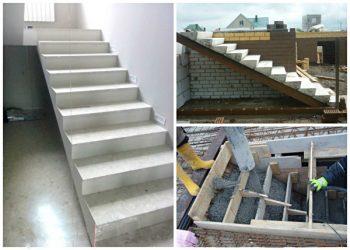 Монтаж лестницы из бетонных ступеней